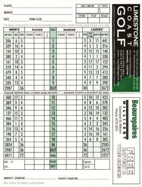 Millicent Golf Club Scorecard