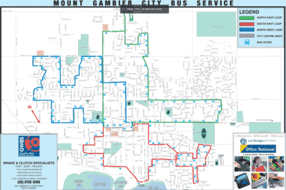 Mount Gambier CIty Bus Route Map